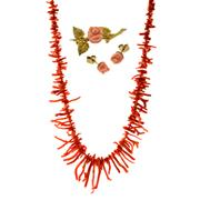 Sale 8134B - Lot 314 - A GROUP OF CORAL JEWELLERY; a graduated branch coral necklace, a 9ct floral brooch and a pair of 9ct stud earrings.
