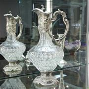 Sale 8304 - Lot 13 - Silver Plated & Cut Crystal Claret Jug
