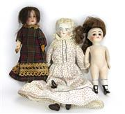 Sale 8330T - Lot 92 - Three Early 20th Century Bisque Head Dolls; The Société Française de Fabrication de Bébés et Jouets with painted eyes and painted ar...