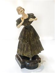 Sale 8516A - Lot 3 - An antique bronze & ivory figure of a maiden in Victorian dress, handmade, c1920-1930s, with ornate detail, superb carved ivory face...