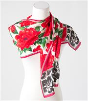 Sale 8541A - Lot 57 - A 100% silk Adrienne Vittadini scarf with red rose design, L 134cm