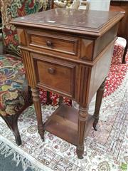 Sale 8634 - Lot 1026 - Early 20th Century French Walnut Bedside Cabinet, with brown marble top, a drawer, fall-front door, turned legs & shelf