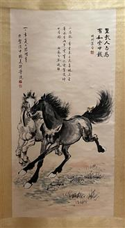 Sale 8980S - Lot 615 - Chinese Scroll of Horses Galloping, Ink and Colour on Paper