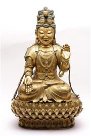 Sale 9032C - Lot 710 - A Large And Impressive Bronze And Gilded Guanyin With Hands In Abhaya Mudra And Seated On A Lotus Base H: 70cm