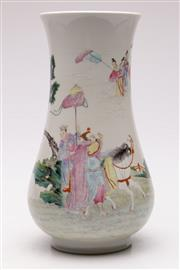Sale 9064 - Lot 5 - A Chinese Vase Decorated With Warriors, Horse And Immortals (H: 30cm)