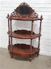 Sale 9068 - Lot 1050 - Victorian Figured Walnut & Marquetry Whatnot, of three demi-lune tiers, the oval mirror back with pierced spandrels, the shelves rai...
