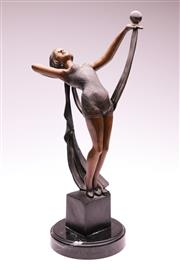 Sale 9081 - Lot 6 - Art Deco Style Bronze and Marble Figure of a Gymnast (H: 45cm)