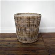 Sale 9075T - Lot 97 - Drum side table with solid fruit wood top and in a weaved kubu Rattan wrap. H: 47 x W: 40 x D: 40