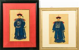 Sale 9144 - Lot 141 - A matched pair of Chinese elder prints (image size 17cm x 26cm)