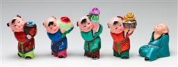 Sale 9190 - Lot 69 - A collection of five painted Chinese ceramic figures (H:11cm)