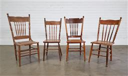 Sale 9255 - Lot 1107 - Set of 6 assembled pressed back dining chairs (h:105 x w:48 x d:46cm)