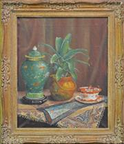 Sale 8088A - Lot 58 - A Boniface, still life with green ginger jar, oil on canvas. 59 x 47cm