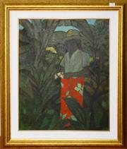 Sale 8098A - Lot 9 - Ray Crooke- Islander with Flowers, oil on board, 55x45cm, signed lower left.