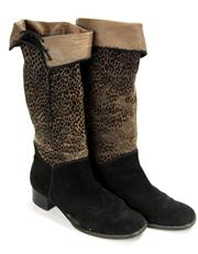 Sale 8134B - Lot 361 - A PAIR OF SUEDE BOOTS; in black and cheetah pattern print with turn down leather interior (39).