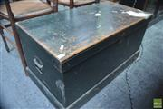 Sale 8317 - Lot 1052 - Early 20th Century Green Painted Pine Carpenters Chest, the interior with slides & fittings