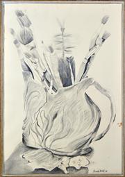 Sale 8410A - Lot 5057 - Anne Hall (1945 - ) - Brushes in a Merric Boyd Pot, 1968 101 x 69.5cm (sheet size)