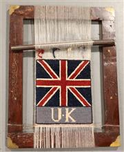Sale 8445K - Lot 19 - Afghan Hanging Loom , 55x45cm, Interesting example loom featuring  world flag design. Ideally used as a unique wall hanging. Handmad...