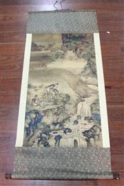 Sale 8473 - Lot 65 - Chinese Scroll Depicting Monkeys By The Water