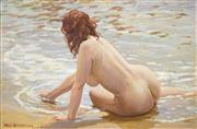 Sale 8513A - Lot 5004 - Max Middleton (1922 - 2013) - Nude on Beach 30.5 x 45.5cm