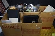 Sale 8563T - Lot 2578 - 5 Boxes of Kitchen Wares & Other Sundries incl. Videos & Player, Cups, Oriental Vase, Glass Vases, etc