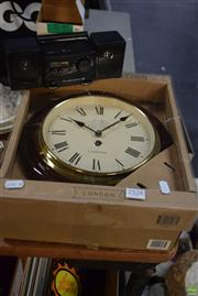 Sale 8563T - Lot 2528 - 2 Wall Clocks, Time Gift Alarm Clock & Brass Lidded Container