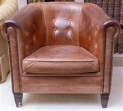 Sale 8568A - Lot 90 - A Chesters brown Saheeb buttoned leather tub chair, W 80cm