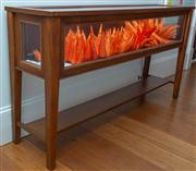 Sale 8595A - Lot 7 - A pine display table with hinged top and lower shelf, H 96 x W 180 x D 44cm