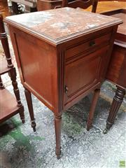 Sale 8634 - Lot 1038 - Early 20th Century French Walnut Bedside Cabinet, with brown marble top, a drawer & panel door on turned legs (cracks to marble)