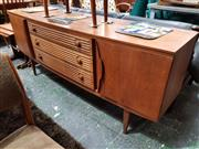 Sale 8930 - Lot 1044 - Beautility Teak Sideboard with Ridged Drawer Fronts
