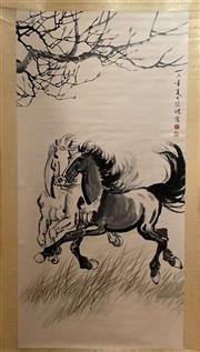 Sale 8980S - Lot 611 - Chinese Scroll of Horses Galloping, Ink and Colour on Paper