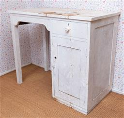 Sale 9191W - Lot 720 - A small rustic timber sewing desk (W; 85cm, H; 72cm D; 45cm)