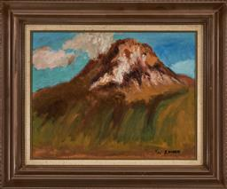 Sale 9208 - Lot 2072 - C20TH JAPANESE SCHOOL Mountain & Landscape, 1973 oil on board 40 x 53 cm (frame: 60 x 74 x 6 cm) signed and dated lower right