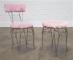 Sale 9210 - Lot 1090 - Vintage metal frame chair & matching footstool by K&A classic furniture (h75 x d36cm)