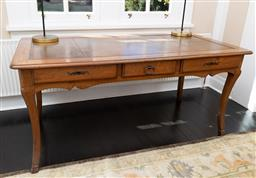 Sale 9248H - Lot 135 - Antique French C19th Louis XV style walnut bureau plat with brown leather writing surface. and three drawers Ex Andrew & Cecille Fin...