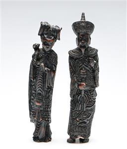 Sale 9253 - Lot 221 - A pair of composite resin Chinese ancestor figures (H: 23cm)