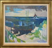 Sale 8325A - Lot 31 - Arnold Petersen (XX) (Danish School) - Untitled (Seascape and Tug Boat) 66 x 80cm