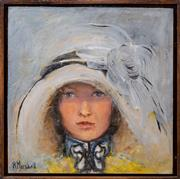 Sale 8375A - Lot 83 - R Marshall - Lady in Blue Hat 30 x 30cm