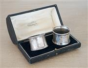 Sale 8450 - Lot 68 - G.J.H Brown & Sons, pair of silver napkin rings, each hallmarked, in display box