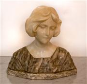 Sale 8516A - Lot 5 - An alabaster bust of a young maiden, possibly Edwardian, well detailed & toned piece, life like detail & in good condition commensur...