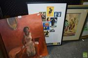 Sale 8509 - Lot 2044 - Artist Unknown, Villagers, oil painting, signed lower left and another 2 artworks - framed print/oil painting (3)