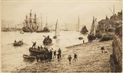 Sale 8583A - Lot 5125 - William Lionel Wyllie (1851 - 1931) - Sea Scouts in Portsmouth Harbour 14 x 22cm
