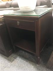 Sale 8740 - Lot 1410 - Timber Side Table with Glass Top & Single Drawer