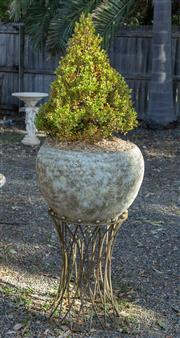 Sale 8745A - Lot 83 - A pair of snakeskin finished urns on brass stands,  each planted with pyramid topiary, each H  100 (not inc. plant) x 55cm in diameter