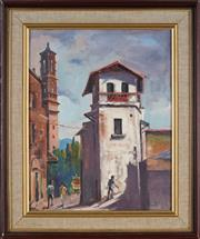 Sale 8907 - Lot 589 - Gwen Pratt (1917 - ) - A Street In Taxco, Mexico 35.5 x 28 cm