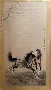 Sale 8980S - Lot 663 - Chinese Scroll of Horses Galloping, Ink and Colour on Paper