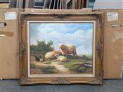 Sale 9065 - Lot 2063 - A quaint C19th Style Painting depicting Sheep and Chickens Artist frame: 72 x 80 cm, unsigned -