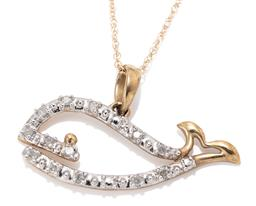 Sale 9164J - Lot 473 - A 10CT GOLD DIAMOND WHALE PENDANT NECKLACE; open frame set with 13 single cut diamonds, size 25mm x 15mm, on fine Prince of Wales ch...