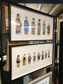 Sale 9163 - Lot 2046 - A Set of (2) collages of Chinese Figures in Costume, 48 x 93cm (frames) -