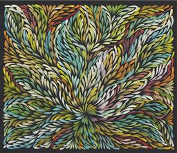 Sale 9189A - Lot 5032 - ARTIST UNKNOWN (ABORIGINAL) 'Bush Yam Leaf' acrylic on canvas 59 x 69 cm (stretched and ready to hang) unsigned