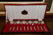 Sale 7981B - Lot 85 - A cased set of English Stanley Rogers silver plate dessert cutlery for 6